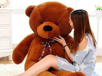 Девушка с огромным плюшевым медведем