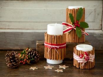Новогодние свечи из палочек корицы