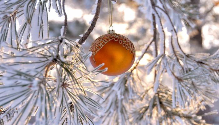 Новогоднее украшение на сосне