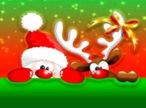 Прикольные новогодние Санта и олень
